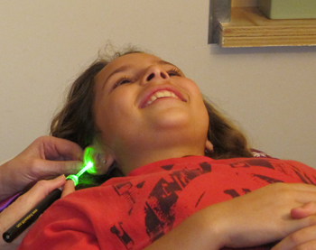 Sarah Kanan Enjoying Laser Acupuncture